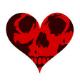 heart shape concept tattoo with the skull vector image vector image