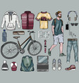 hipster and men s accessories set vector image