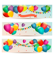 Holiday banners with colorful balloons vector image vector image