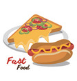 hot dog pizza fast food design isolated vector image