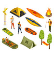 isometric camping colored symbols hiking icon vector image vector image
