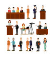 law court people flat icon set vector image vector image