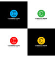 letter c with lines logo icon flat design vector image