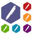 marker pen icons set hexagon vector image vector image