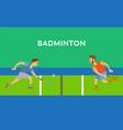 men with racket toss shuttlecock badminton vector image