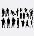 military and police silhouette vector image vector image