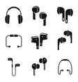 modern wireless earbuds icons set simple style vector image vector image