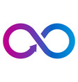 multicolored infinity sign with arrow vector image vector image