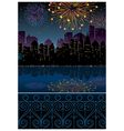 Night Cityscape fireworks vector image vector image