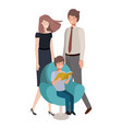 parents couple with son sitting in chair avatar vector image vector image