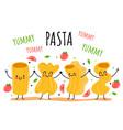 pasta cartoon doodle characters mascote concept vector image vector image