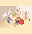 people at psychologist counseling father and son vector image vector image