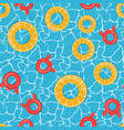 pool water and lifebuoy seamless pattern vector image
