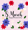 postcard to march 8 with paper flowers banners vector image