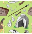 Prehistoric stone age icons set pattern vector image vector image