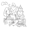 Recreation Tourism and camping Hand drawn doodle vector image vector image