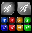 Rocket icon sign Set of ten colorful buttons with vector image vector image