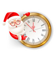 santa claus and clock vector image vector image