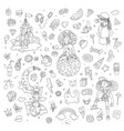 set of teenage girl line icons cute cartoon teen vector image vector image