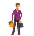 shopaholic man people bad habits vector image