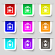 shopping bag icon sign Set of multicolored modern vector image