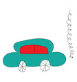 simple of a blue car with red windows on whiye vector image vector image