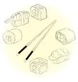 Sketchy sushi set vector image