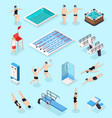 swimming pool isometric set vector image vector image