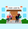 teachers stand on steps school welcome vector image