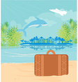 Tropical island paradise with leaping dolphin vector image