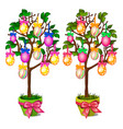 two trees in pots with colorful easter eggs vector image vector image