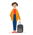 young man standing with suitcase vector image