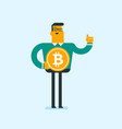 young successful businessman with bitcoin coin vector image vector image