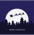 santa claus rides in a sleigh with their reindeer vector image