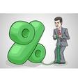 Businessman raises interest rates vector image