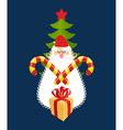 Emblem of Christmas Santa Claus and gift Mint vector image