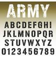 alphabet font army stamp design vector image vector image