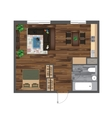 Architectural Color Floor Plan Studio Apartment vector image vector image