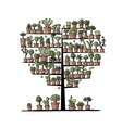 Art tree with plants in pots sketch for your vector image