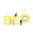 big word seo with small working people vector image vector image