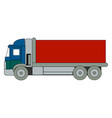 blue big truck on white background vector image vector image