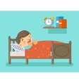 Boy sleeping in the bed vector image vector image