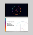 business-card-letter-k vector image vector image