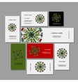 Business cards collection floral mandala design vector image vector image