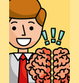 businessman cartoon brain creativity exclamation vector image
