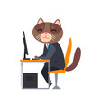businessman cat sitting at desk and working with vector image