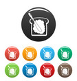 butter on bread icons set color vector image vector image