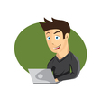cartoon of young man with laptop vector image vector image