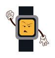 cartoon watch clock angry character vector image