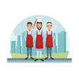 chef and waiters vector image vector image